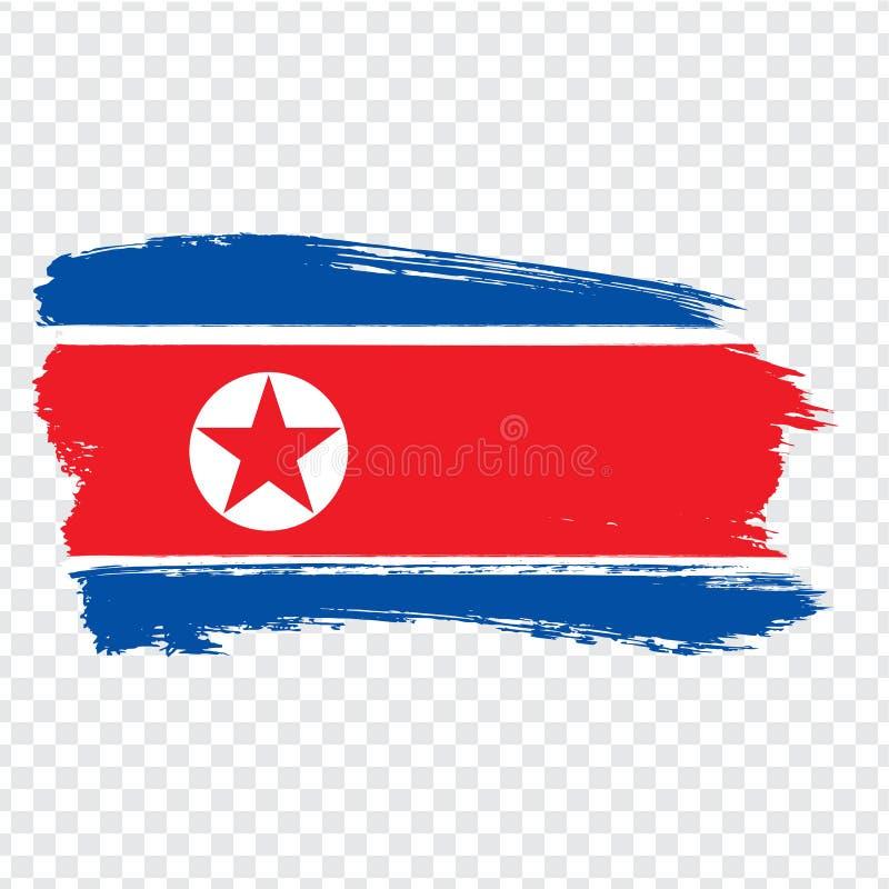 朝鲜民主主义人民共和国的旗子从刷子冲程的 北朝鲜的旗子透明背景的您的网的坐 皇族释放例证