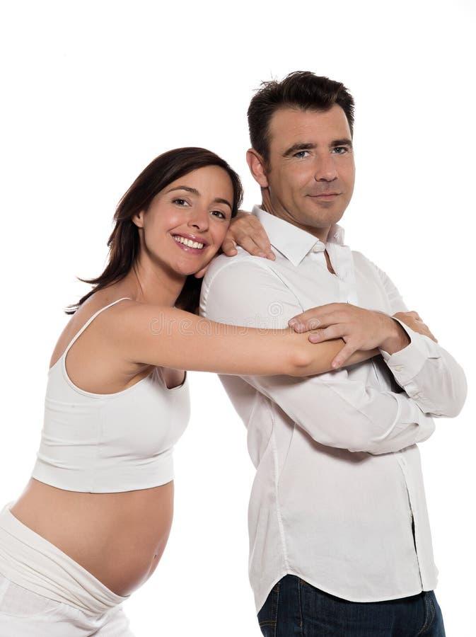 期待婴孩的夫妇快乐 库存照片