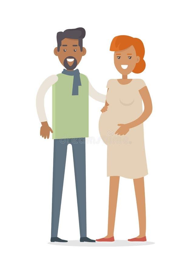 期待婴孩的男人和妇女 年轻家庭 库存例证