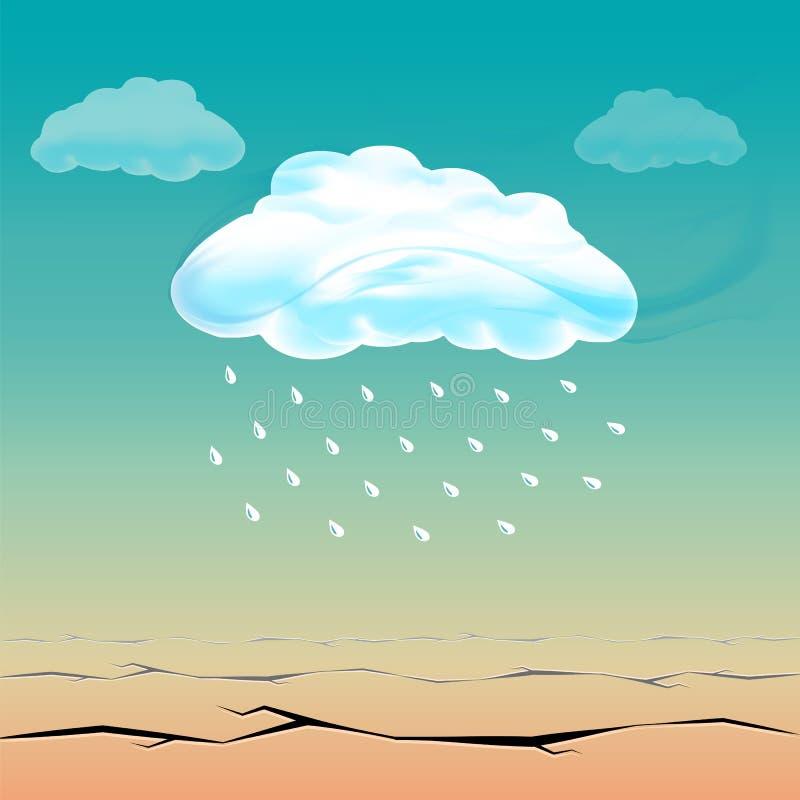 期待已久的云彩雨在热的沙漠 库存图片