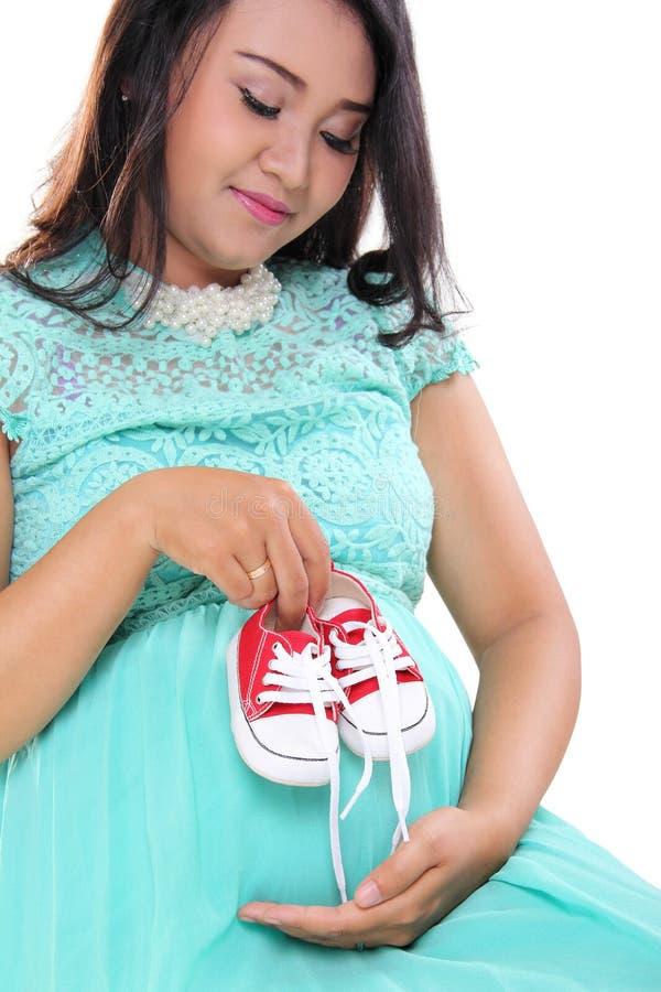 期待母亲和童鞋 库存图片