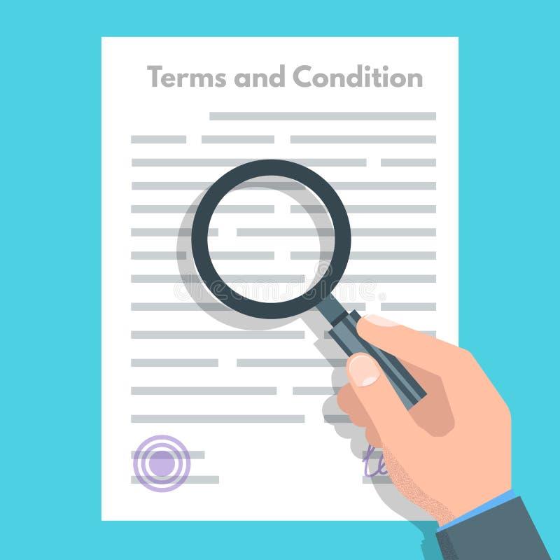 期限和条件概念 文件纸,合同 也corel凹道例证向量 向量例证