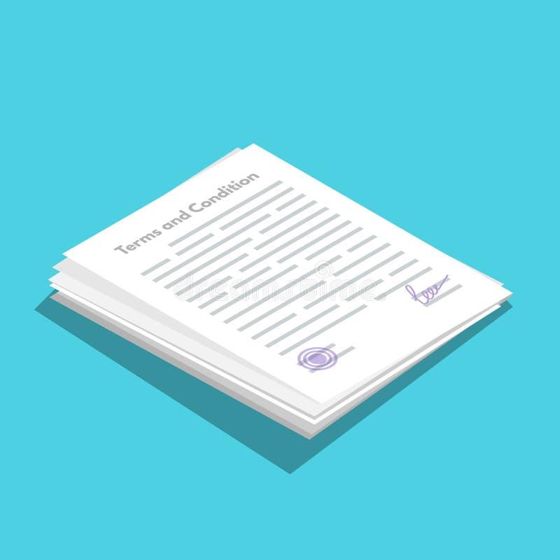 期限和条件icometric象 文件纸,合同 也corel凹道例证向量 向量例证