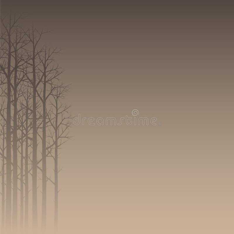 朦胧的森林剪影 库存例证