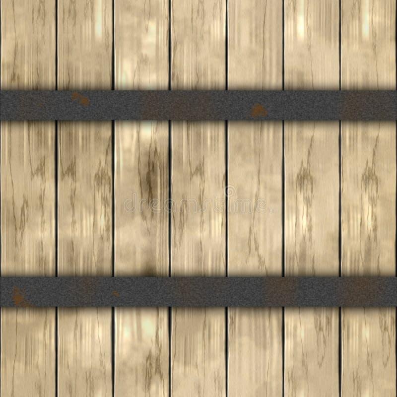 木与两个银色深灰生锈的金属箍的板条桶木板条无缝的样式纹理背景-轻的灰棕色 库存例证