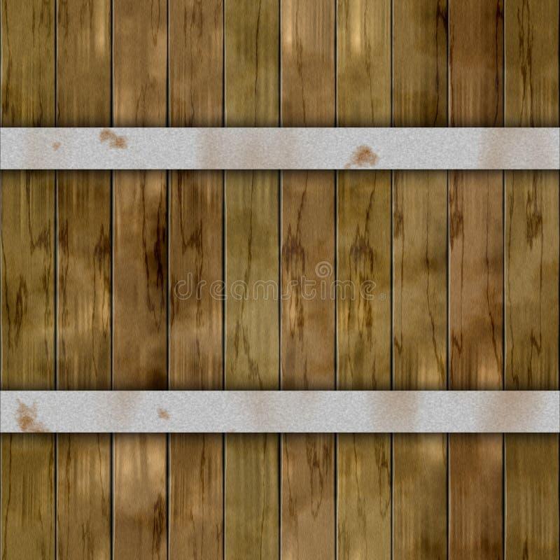 木与两个银色生锈的金属箍的板条桶木板条无缝的样式纹理背景-卡其色的棕色颜色 向量例证