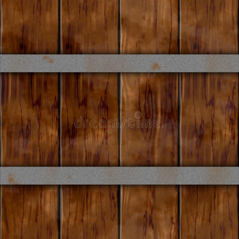 木与两个银色生锈的金属箍的板条桶木板条无缝的样式纹理背景-黑褐色颜色 向量例证