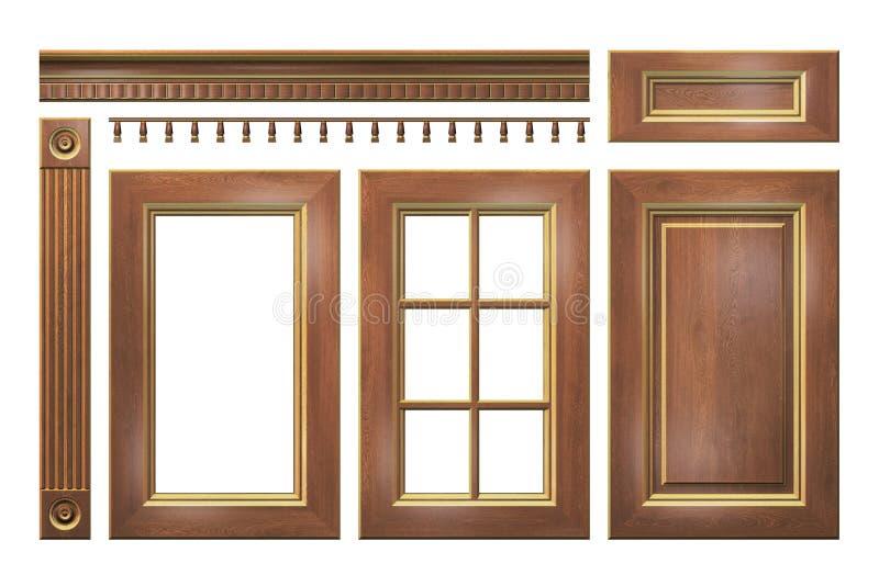 木与金门,抽屉,专栏,在白色隔绝的厨柜的檐口 库存例证