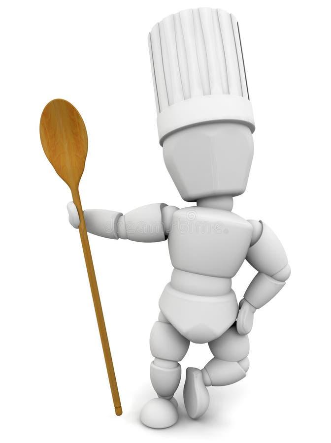 木主厨的匙子 库存例证