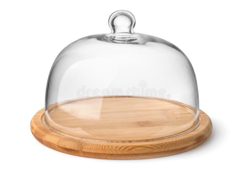 木乳酪板和玻璃圆顶 库存图片