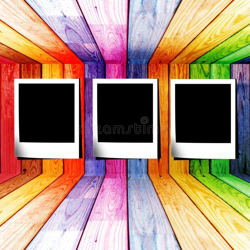 木五颜六色的照片空间的幻灯片 皇族释放例证