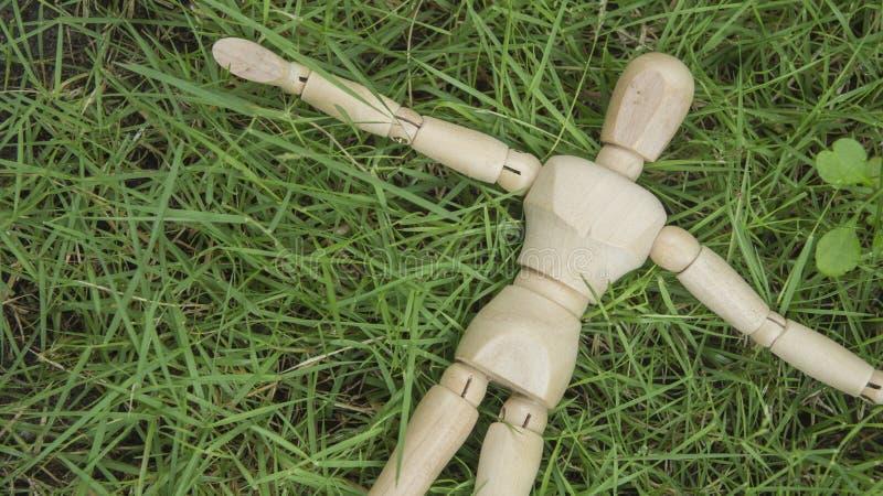 木人的图在庭院放松的草放下 免版税库存图片