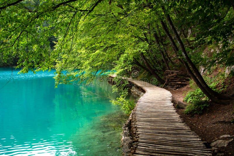 木人行桥通过Plitvice湖 免版税库存照片