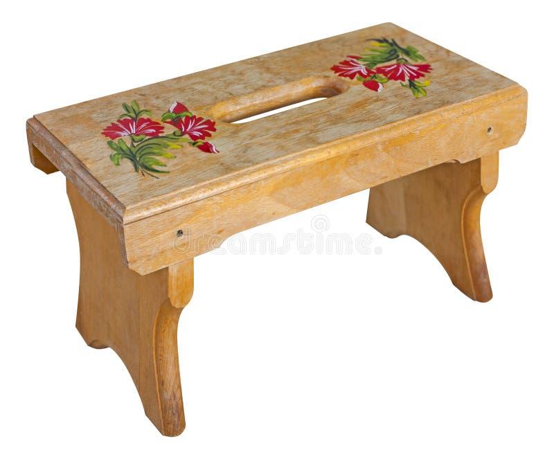 木传统小就座凳子被隔绝在白色背景 免版税库存照片