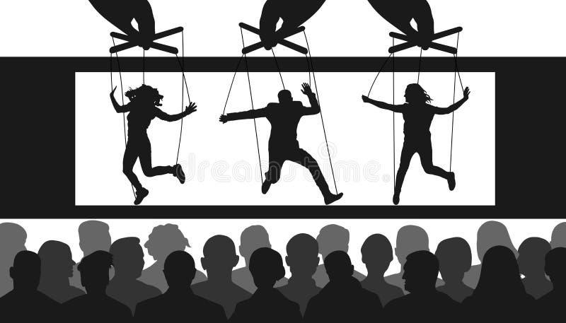 木偶戏 手操纵傀儡的人控制人木偶 观看展示的人观众在剧院 库存例证