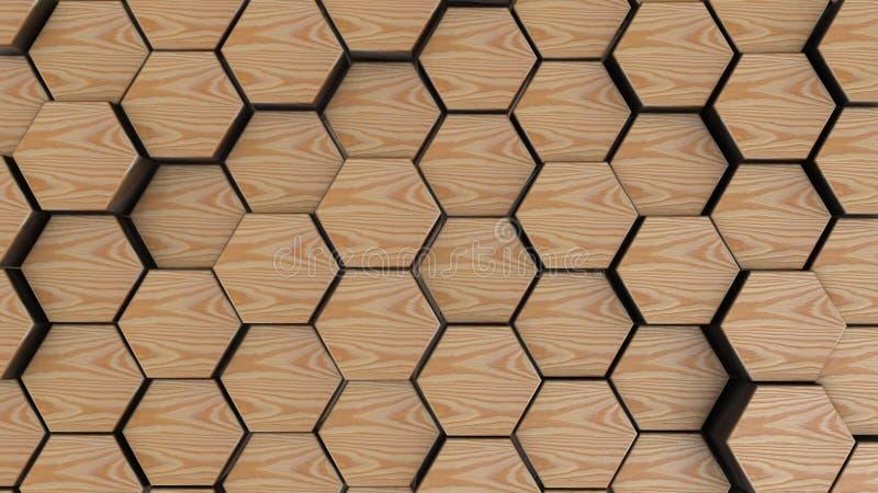 木六角形几何背景 3d回报与六个角度的简单的原始在前面 库存例证