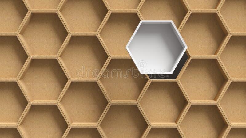 木六角形样式背景 向量例证