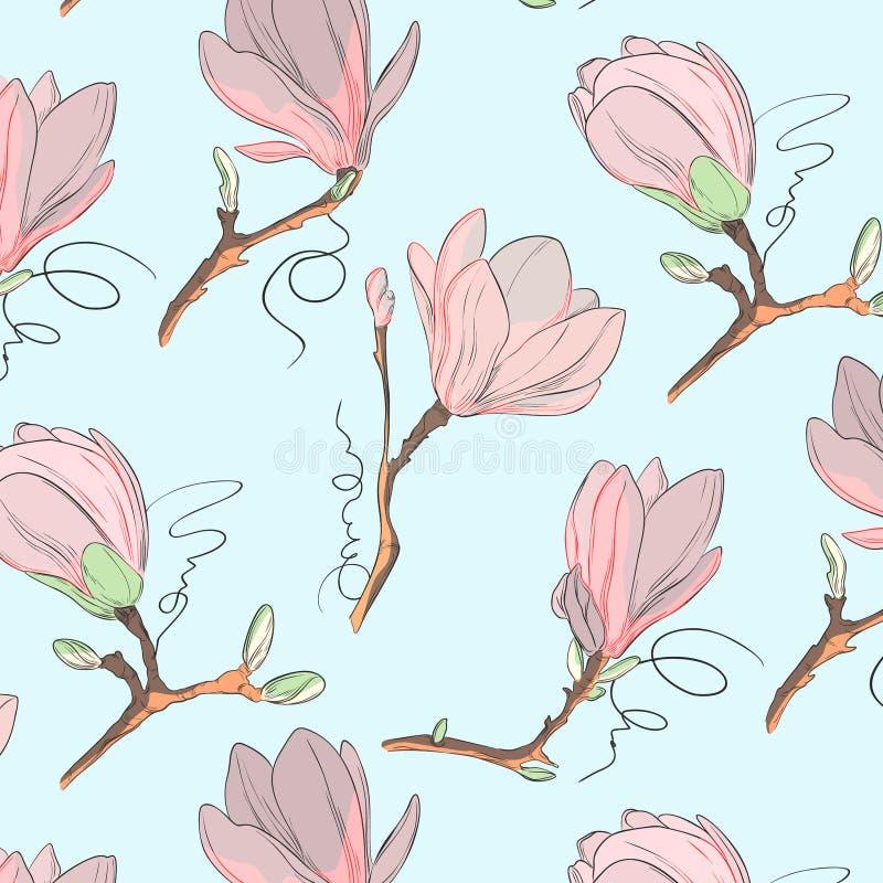 木兰花纹花样 重复与花的植物的纹理在白色背景的蓝色和粉红彩笔 拉长的现有量 皇族释放例证