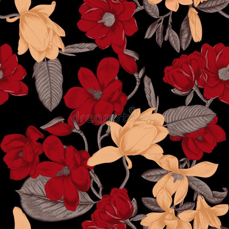 木兰 花 背景开花无缝的向量 开花的树春天植物学  庭院菜p 向量例证