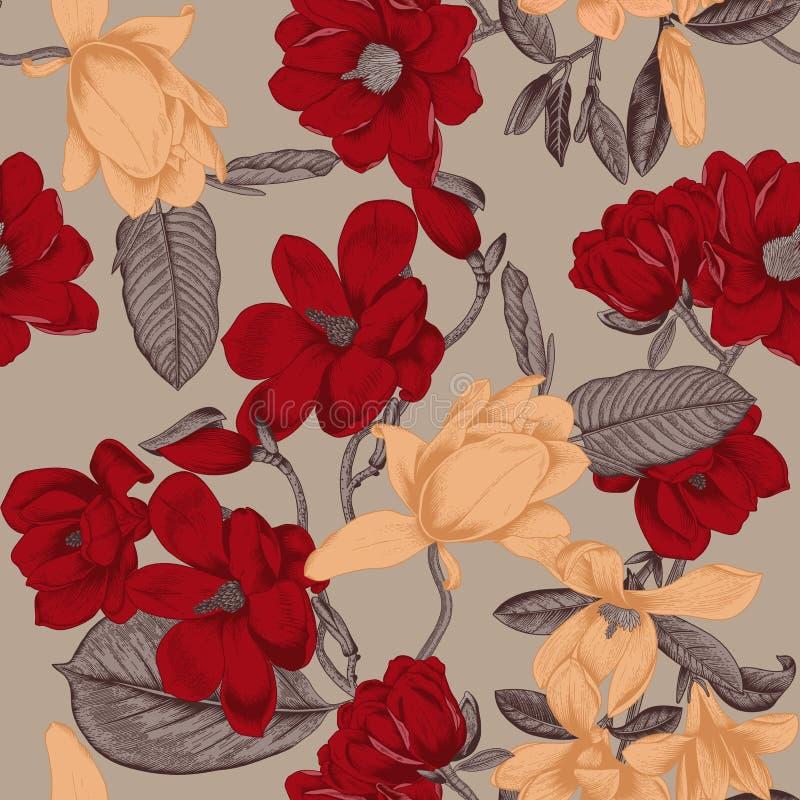 木兰 花 背景无缝的向量 看板卡开花问候 bossies 开花的结构树 向量例证