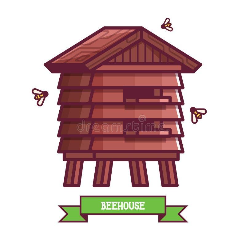 木养蜂场象 向量例证