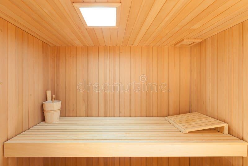 木内部的蒸汽浴 免版税库存图片