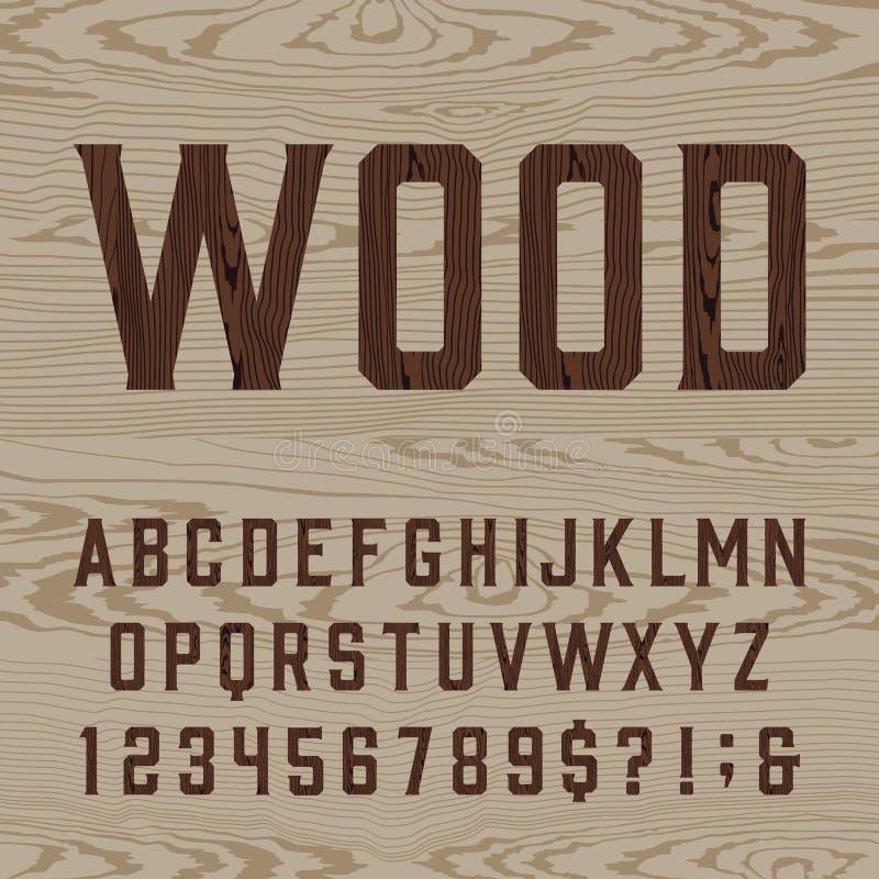 木减速火箭的字母表向量字体 库存例证