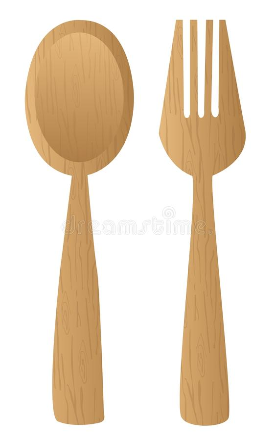 木刀叉餐具 皇族释放例证