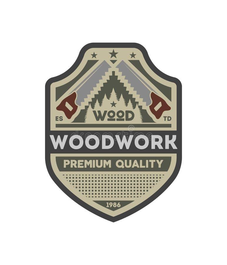 木制品公司葡萄酒被隔绝的标签 库存例证