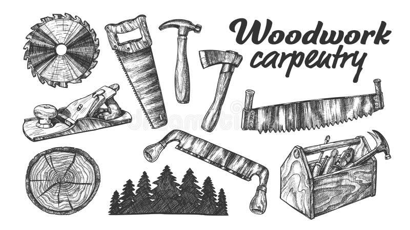 木制品木匠业汇集设备集合传染媒介 向量例证
