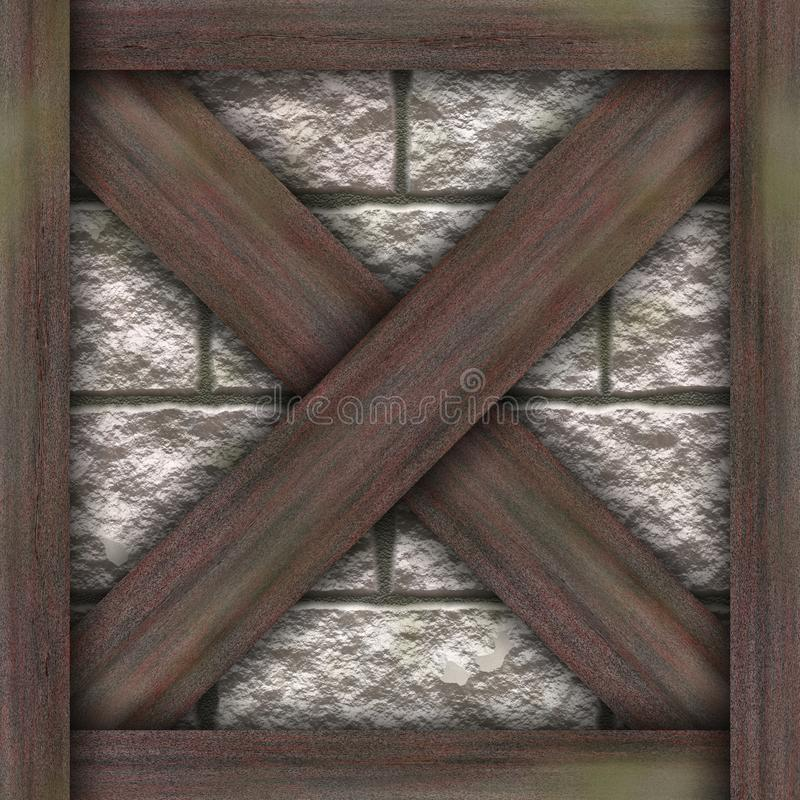木制框架瑞士山中的牧人小屋建筑元素 库存例证