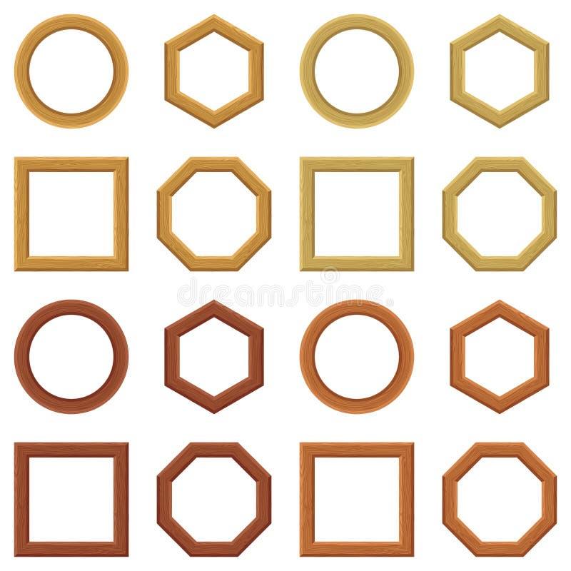 木制框架,集合 向量例证