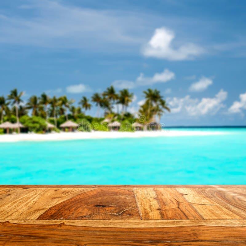 木前面的组合与被弄脏的热带海岛 免版税库存图片
