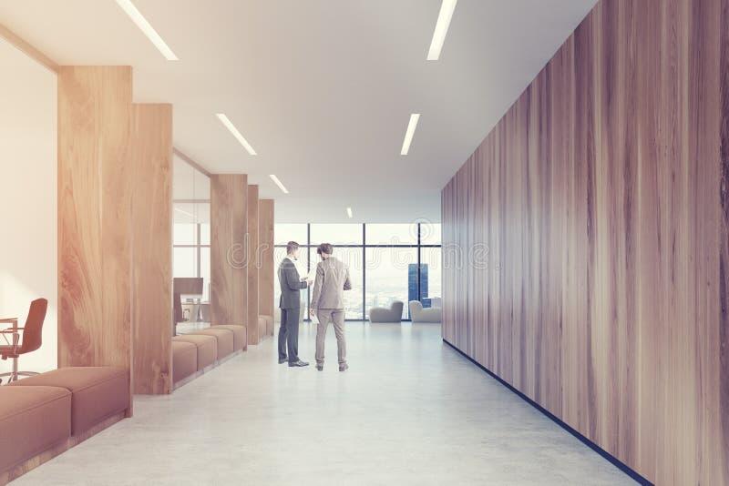 木办公室走廊,被定调子的棕色沙发 皇族释放例证