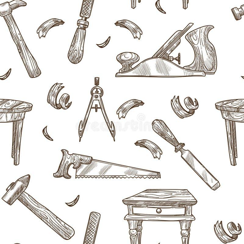 木匠业用工具加工传染媒介样式背景 皇族释放例证