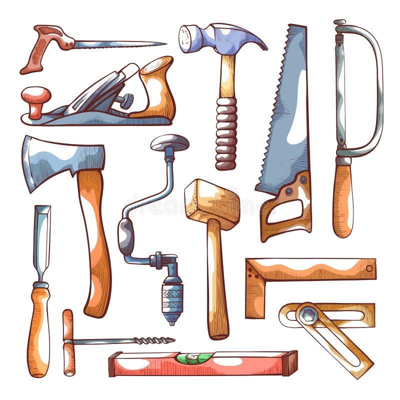 木匠业用工具加工在白色的手拉的集合 向量例证