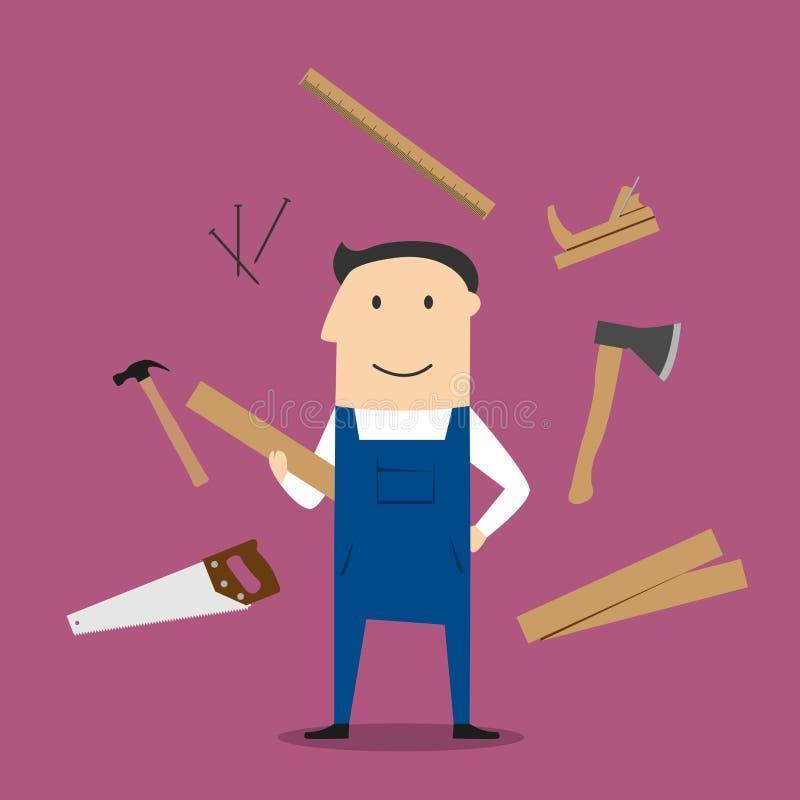 木匠人和专业工具 皇族释放例证