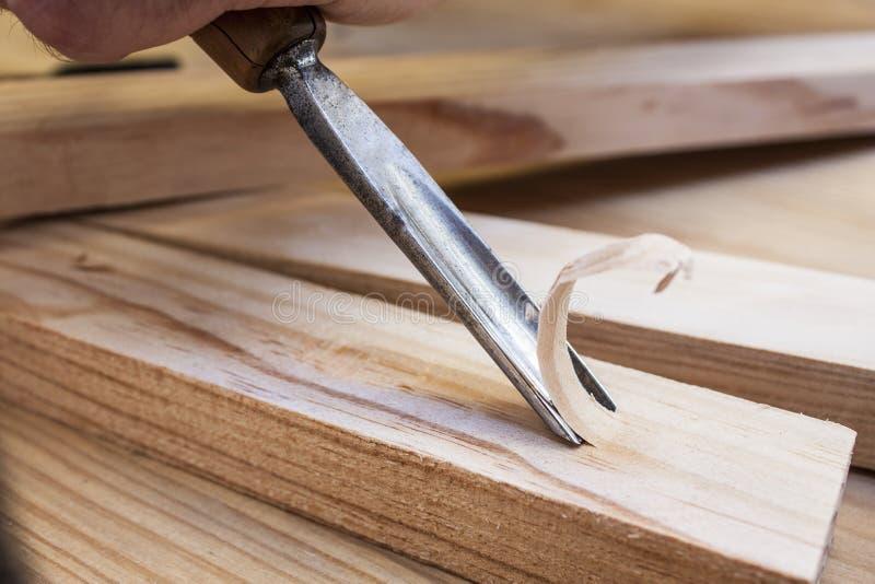 木匠凿子蛾眉凿工具木头 库存图片