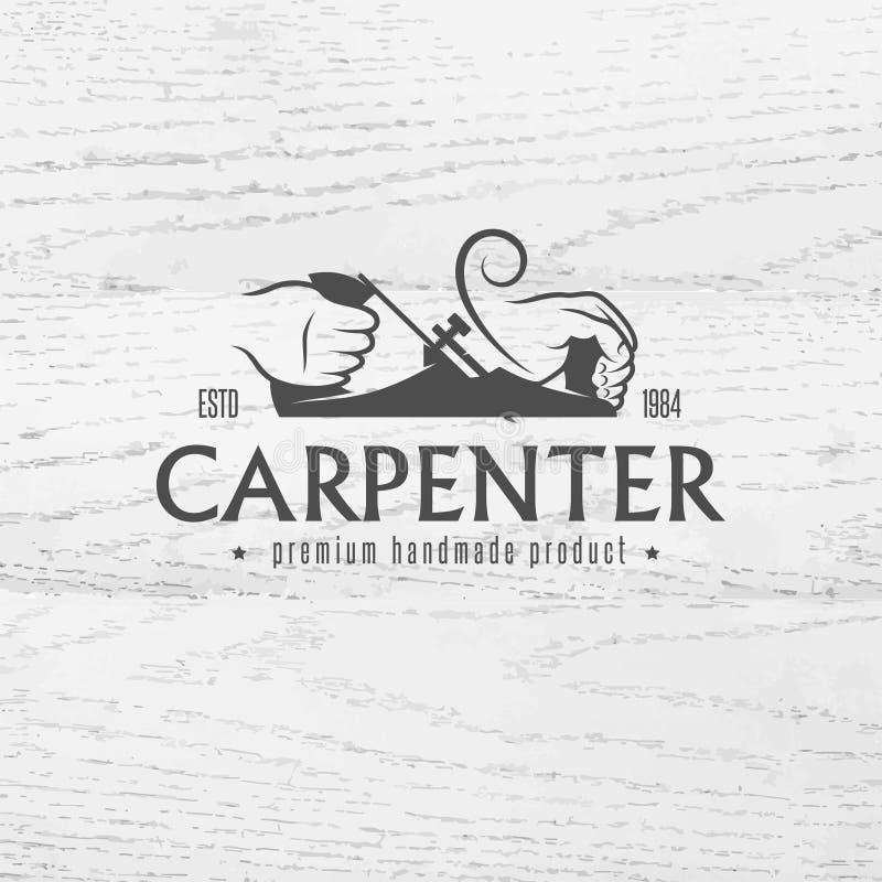 木匠在葡萄酒样式的设计元素 向量例证