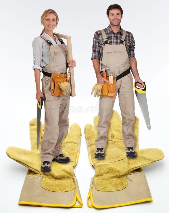 木匠女性男 免版税库存图片