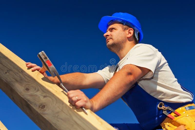 木匠屋顶结构顶层 库存照片
