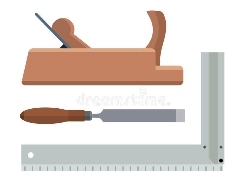 木匠用工具加工更加平面的凿子和角材 向量例证