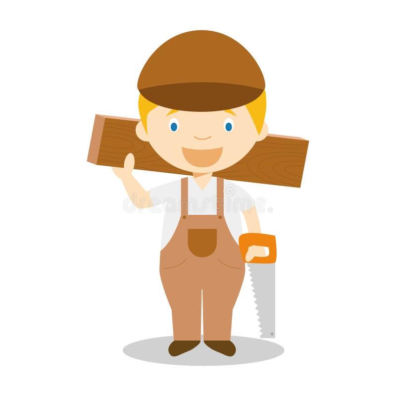 木匠的逗人喜爱的动画片传染媒介例证 皇族释放例证