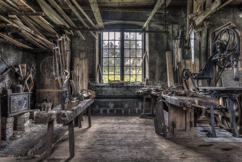 木匠车间在Gammelstilla,瑞典 免版税库存图片