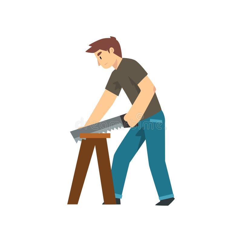 木匠锯的木委员会,与专业设备传染媒介例证的男性建筑工人字符 库存例证