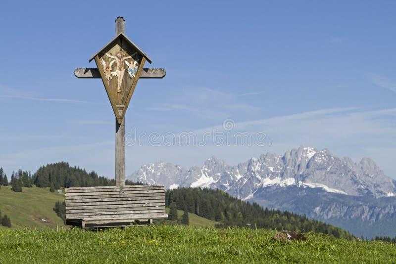 木十字架和Kaiser山 库存图片