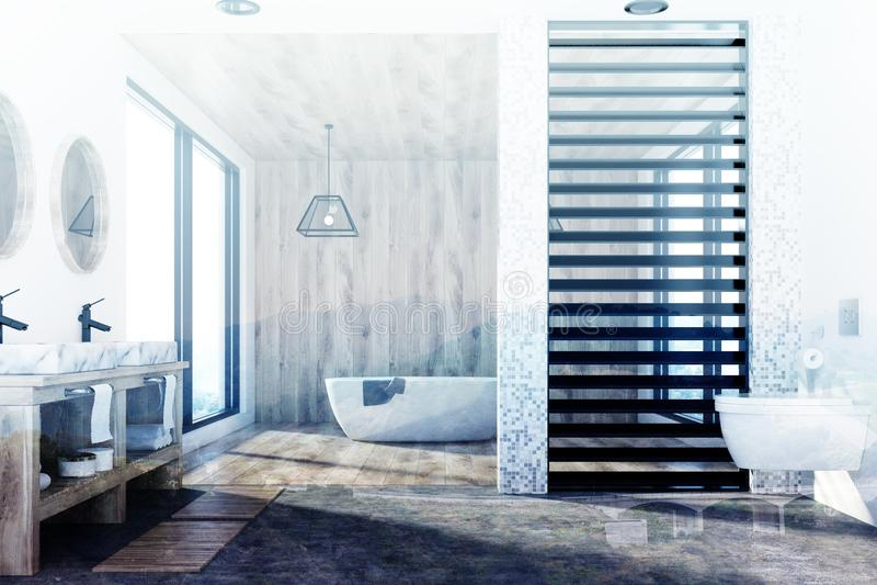 木卫生间、木盆、被定调子的水槽和阵雨 向量例证