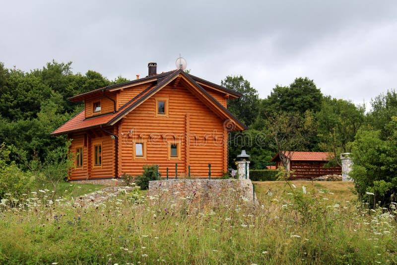 木原木小屋房子最近建造包围与花木头流洒了和与多云蓝天的豪华的森林植物群落在背景中 免版税库存照片