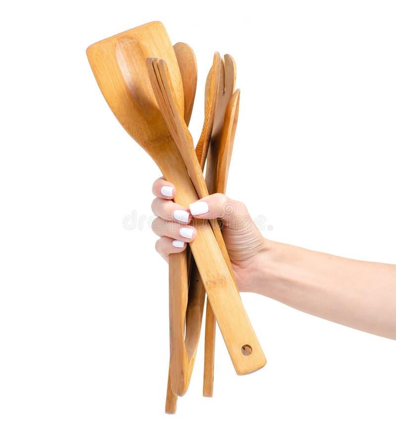 木厨房工具在手上 免版税库存图片