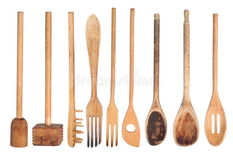木厨房的器物 免版税库存图片